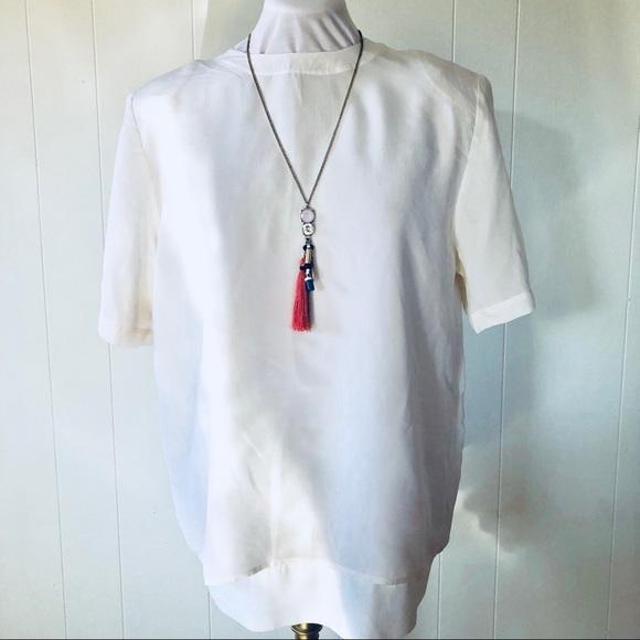 1924cd0f75c483 Christie   Jill Tops - Christie   Jill Ivory 100% Silk Top Keyhole